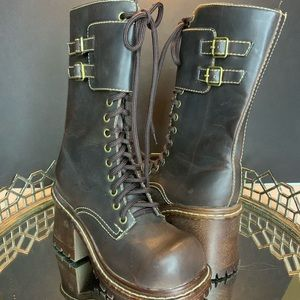 Soda Combat Boot Faux Leather Lace Zip #L1